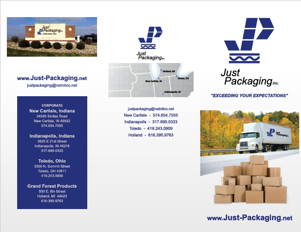 Just Packaging Front Brochure