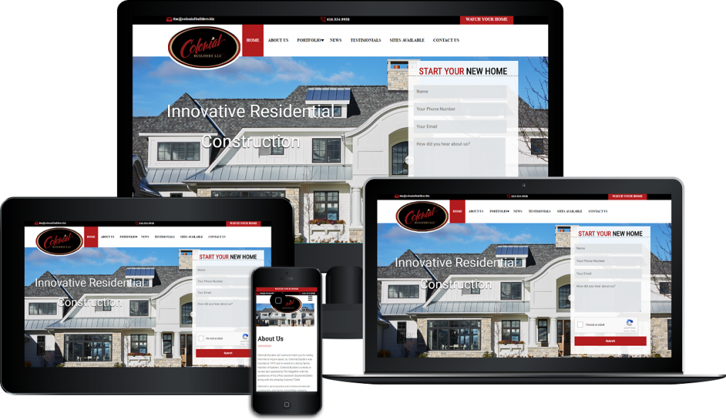 colonial builders responsive website design