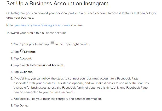 List of instructions for how to set up an Instagram business account